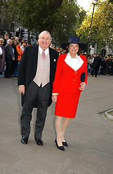 ANTHONY & ANTOINETTE OPPENHEIMER at the wedding of Clementine Hambro to Orlando Fraser at St.Margarets Westminster Abbey, London on 3rd November 2006.<br />