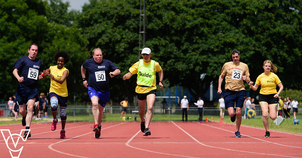 Metro Blind Sport's 2017 Athletics Open held at Mile End Stadium.  100m.  CONSENT<br /> <br /> Picture: Chris Vaughan Photography for Metro Blind Sport<br /> Date: June 17, 2017