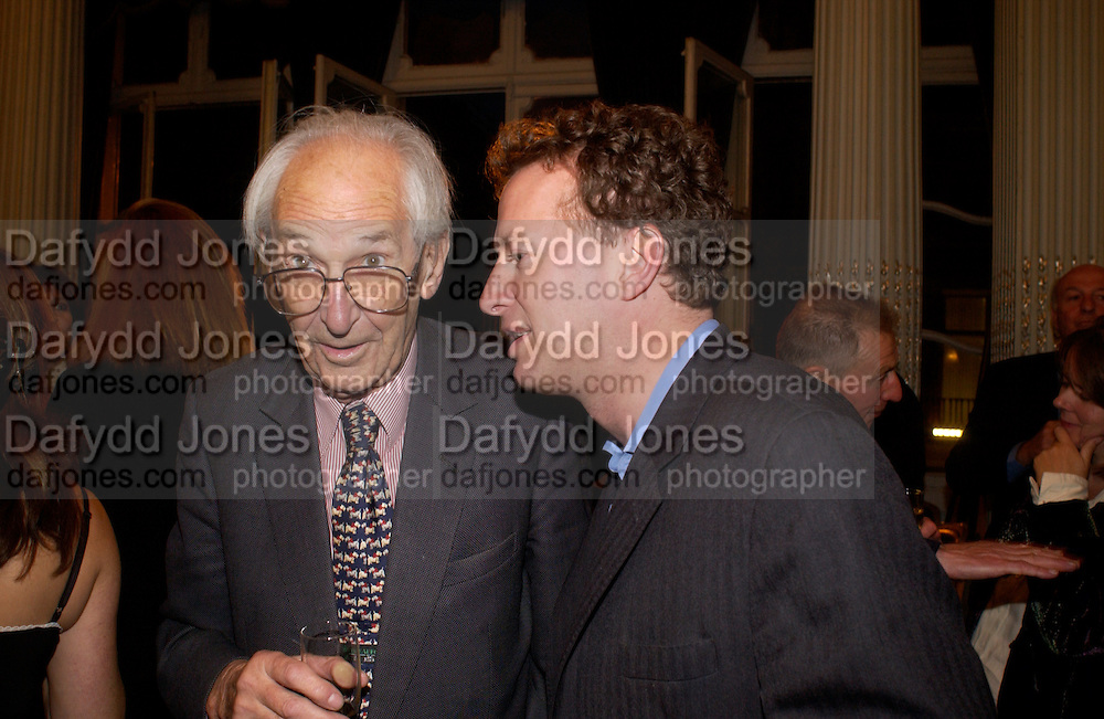Sir Raymond Carr and Orlando Fraser, Flora Fraser launch party for her book ' Princesses the Daughters of George 111' the Savile club, Brook St. 14 September 2004. SUPPLIED FOR ONE-TIME USE ONLY-DO NOT ARCHIVE. © Copyright Photograph by Dafydd Jones 66 Stockwell Park Rd. London SW9 0DA Tel 020 7733 0108 www.dafjones.com