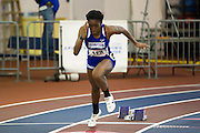 Hampton senior Benita Taylor starts the Women's 400 Meter Dash during the 2013 MEAC Men's and Women's Indoor Track and Field Championships at the Prince George's Sports and Learning Complex in Landover, Maryland.  February 15, 2013  (Photo by Mark W. Sutton)