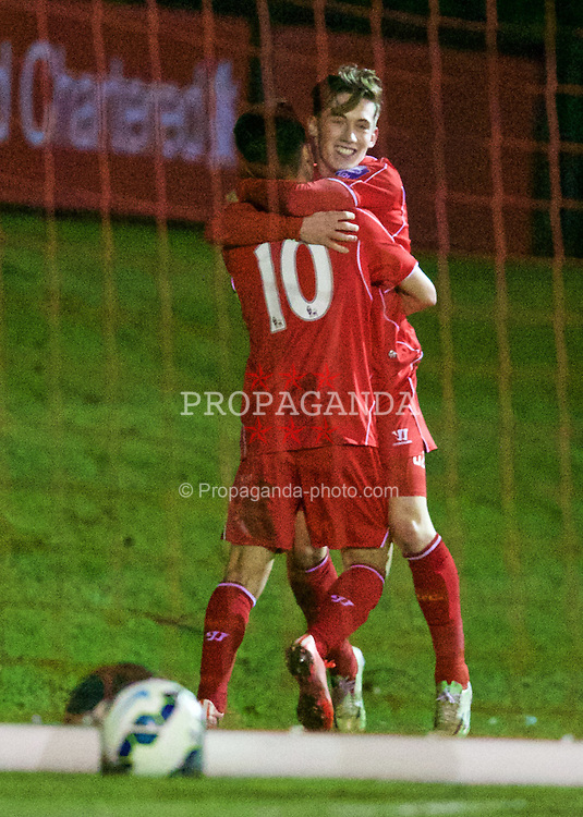 KIRKBY, ENGLAND - Monday, February 16, 2015: Liverpool's captain Cameron Brannagan celebrates scoring the first goal against Sunderland with team-mate Harry Wilson during the Under 21 FA Premier League match at the Kirkby Academy. (Pic by David Rawcliffe/Propaganda)