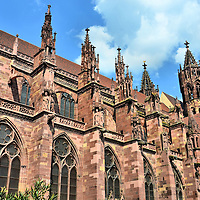 Freiburg Minster Side Fa&ccedil;ade in Freiburg im Breisgau, Germany <br />