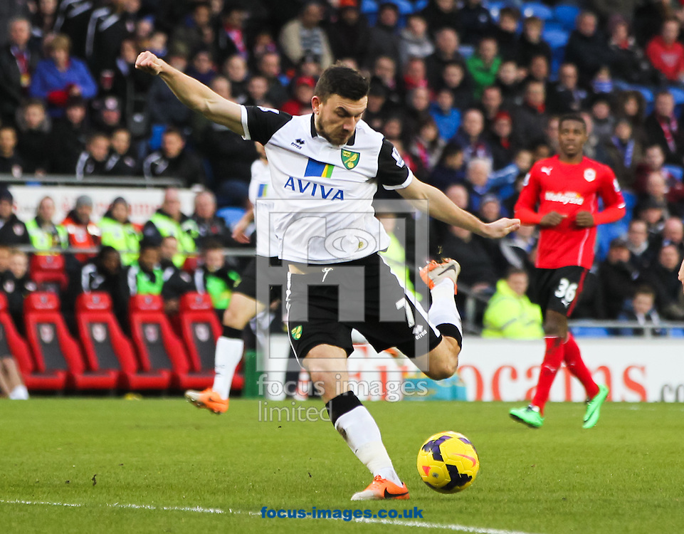 Picture by Tom Smith/Focus Images Ltd 07545141164<br /> 01/02/2014<br /> Robert Snodgrass of Norwich City shapes up to shoot during the Barclays Premier League match at the Cardiff City Stadium, Cardiff.