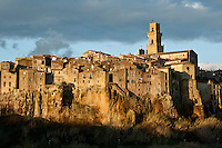 Pitigliano sunset view in winter with grey clouds and contrasts
