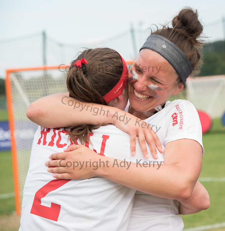 Laura Rickli(2) IS hugged by Anouk Andres after beating Mexico at the 2017 FIL Rathbones Women's Lacrosse World Cup at Surrey Sports Park, Guilford, Surrey, UK, 15th July 2017