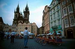 CZECH REPUBLIC BOHEMIA PRAGUE MAR00 - Prague's Old Town Square with the Tyn Cathedral in the background. As a new feature, bicycle rikshaws with a driver are available for hire throughout the centre.. . jre/Photo by Jiri Rezac. . © Jiri Rezac 2000. . Contact: +44 (0) 7050 110 417. Mobile:  +44 (0) 7801 337 683. Office:  +44 (0) 20 8968 9635. . Email:   jiri@jirirezac.com. Web:     www.jirirezac.com