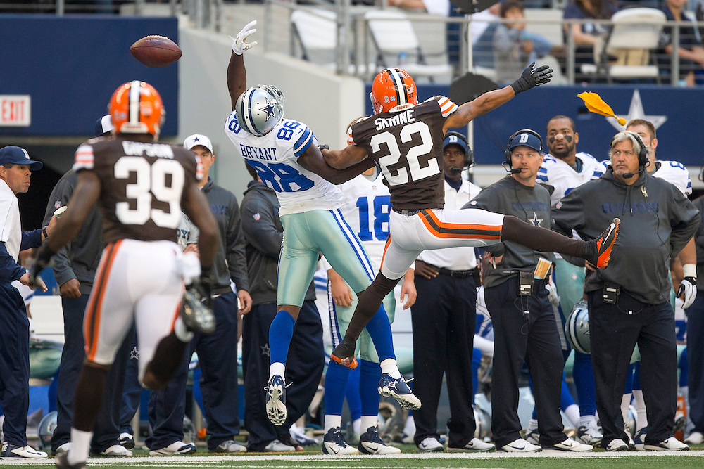 ARLINGTON, TX - NOVEMBER 18:  Dez Bryant #88 of the Dallas Cowboys goes up to try and catch a pass over Buster Skrine #22 of the Cleveland Browns at Cowboys Stadium on November 18, 2012 in Arlington, Texas.  The Cowboys defeated the Browns 23-20.  (Photo by Wesley Hitt/Getty Images) *** Local Caption *** Dez Bryant; Buster Skrine