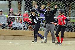 21 April 2017:   Heyworth Hornets at Lexington-Ridgeview girls HOIC Softball game at Keller Park in Lexington