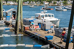 An active wharf at the Vinalhaven Fishermen's Co-op in Vinalhaven, Maine.