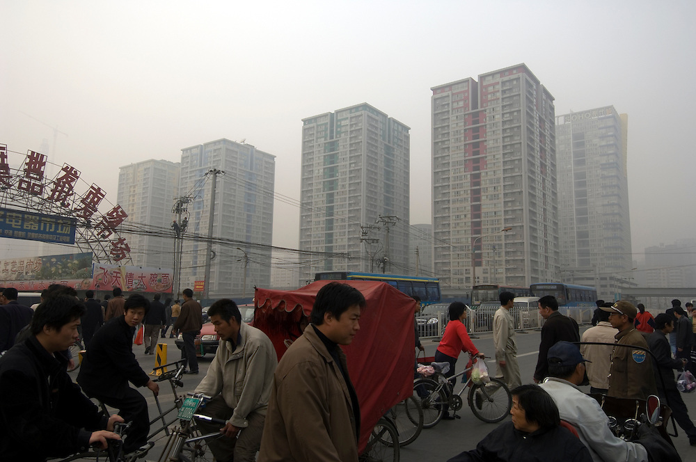 CHINA: Beijing.Housing estate and wholsale food market.