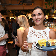 Jessie Judd from Oppo party to launch its new Madagascan Vanilla, Sicilian Lemon and Raspberry Cheesecakes, served with Skinny Prosecco at Farm Girls Café, 1 Carnaby Street, Soho, London, UK on July 18 2018.