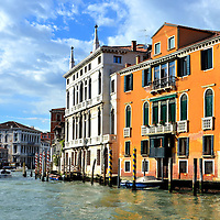 Historic Grand Canal and Palazzos in Venice, Italy <br /> Soon after the Venetian islands were settled in 811AD, it grew into a maritime and military power from the 9th through the 13th centuries.  For the next three hundred years, the city became a cultural center and a haven for wealthy aristocrats who competed to build the most palatial residencies.  But then the Black Death struck in 1575 and again in 1630 while it was also losing its importance as a trade center.  Finally, in 1797, it was conquered by Napoleon Bonaparte, putting an end to the Republic. You can sense most of this fascinating history as you float along the Grand Canal.