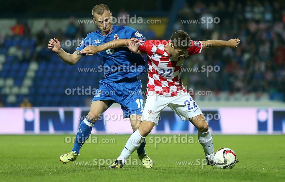 13.10.2014, Stadion Gradski vrt, Osijek, CRO, UEFA Euro Qualifikation, Kroatien vs Aserbaidschan, Gruppe H, im Bild Maksim Medved, Andrej Kramaric // during the UEFA EURO 2016 Qualifier group H match between Croatia and Azerbaijan at the Stadion Gradski vrt in Osijek, Croatia on 2014/10/13. EXPA Pictures &copy; 2014, PhotoCredit: EXPA/ Pixsell/ Igor Kralj<br /> <br /> *****ATTENTION - for AUT, SLO, SUI, SWE, ITA, FRA only*****