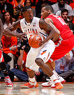 CHAMPAIGN, IL - JANUARY 05: Brandon Paul #3 of the Illinois Fighting Illini looks to pass off the ball as LaQuinton Ross #10 of the Ohio State Buckeyes defends at Assembly Hall on January 5, 2013 in Champaign, Illinois. Ilinois defeated Ohio State 74-55. (Photo by Michael Hickey/Getty Images) *** Local Caption *** Brandon Paul; LaQuinton Ross