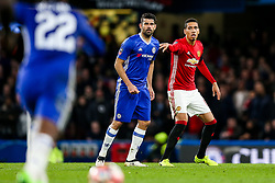 Chris Smalling of Manchester United marks Diego Costa of Chelsea - Rogan Thomson/JMP - 13/03/2017 - FOOTBALL - Stamford Bridge - London, England - Chelsea v Manchester United - FA Cup Quarter Final..