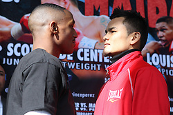 """Feb 23; St. Louis, MO, USA; Devon Alexander (left) and Marcos Maidana pose during the final press conference for the February 25, 2012 fight card """"Arch Enemies"""".  Mandatory Credit: Ed Mulholland"""