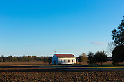Quaint isolated chapel in the middle of a field in bible belt Mississippi, USA