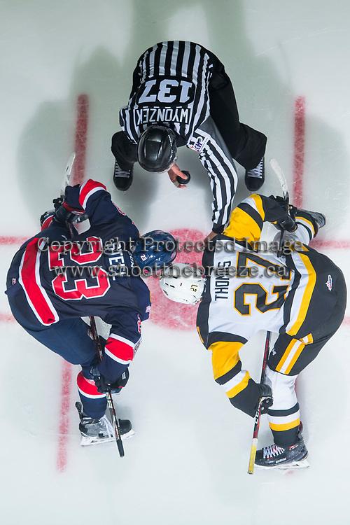 REGINA, SK - MAY 25: Sam Steel #23 of Regina Pats faces off against Robert Thomas #27 of Hamilton Bulldogs at the Brandt Centre on May 25, 2018 in Regina, Canada. (Photo by Marissa Baecker/CHL Images)