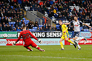 0-1, goal scored by Marcus Forss of Wimbledon during the EFL Sky Bet League 1 match between Bolton Wanderers and AFC Wimbledon at the University of  Bolton Stadium, Bolton, England on 7 December 2019.