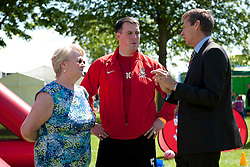 Steve Cram, right, talks to Lincolnshire Sport's chief executive Janet Inman and Lincoln City Sport and Education Trust manager Paul Hamnett.<br /> <br /> Steve Cram spent the day at the Lincolnshire Show with Clydesdale Bank and Yorkshire Bank.  He also visited the Sports Zone, at the show, which was organised by Lincolnshire Sport.<br /> <br /> Picture: Chris Vaughan/Chris Vaughan Photography<br /> Date: Wednesday, June 24, 2015