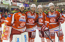 24.03.2013, Stadthalle, Klagenfurt, AUT, EBEL, EC KAC vs EHC Liwest Black Wings Linz, Playoff Halbfinale, 6. Spiel, im Bild Andy Chiodo (Kac, #31), John Lammers (Kac, #20), Tylor Scofield (Kac, #10), Tylor Spurgeon (Kac, #9)// during the Erste Bank Icehockey League playoff semifinal 6th match between EC KAC and EHC Liwest Black Wings Linz at the City Hall, Klagenfurt, Austria on 2013/03/14. EXPA Pictures © 2013, PhotoCredit: EXPA/ Mag. Gert Steinthaler