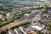 Nederland, Limburg, Gemeente Sittard-Geleen, 27-05-2013; centrum van Sittard met station en emplacement. Kantoren van DSM.<br /> Towncentre Sittard with railway station.<br /> luchtfoto (toeslag op standaardtarieven);<br /> aerial photo (additional fee required);<br /> copyright foto/photo Siebe Swart.