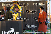 BARRY GERAGHTY;  PRINCESS ANNE, Hennessy Gold Cup, The Racecourse Newbury. 30 November 2013.