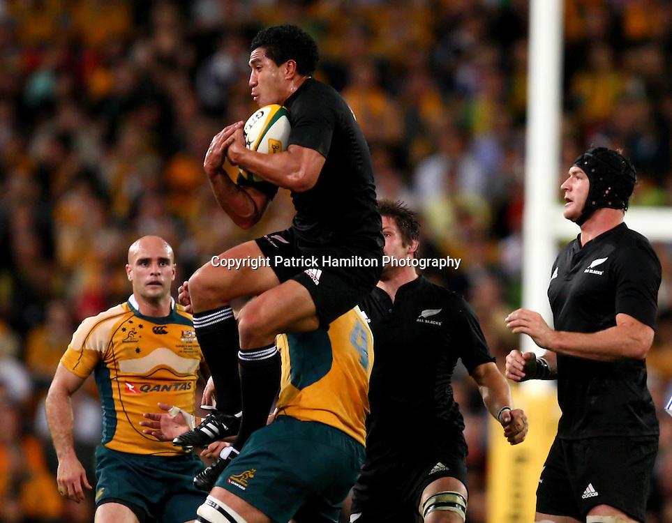 Mils Muliaina.All Blacks v Australia Tri Nations Rugby Union Test Match. Suncorp Stadium ,Brisbane. Australia,Saturday 13 September 2008 .