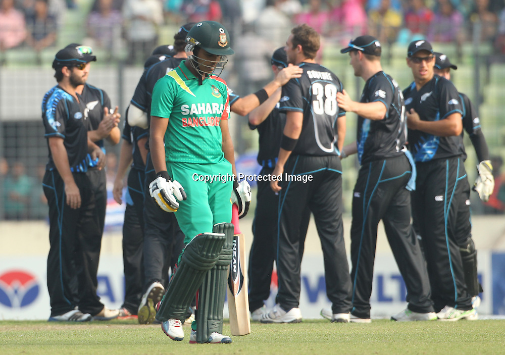 Shamsur Rahman is dismissed, New Zealand Black Caps v Bangladesh, 1st and only T20 international cricket match at Shere Bangla National Stadium, Mirpur, Bangladesh. 6 November 2013. Photo: Shamsul Hoque Tanku/Photosport.co.nz