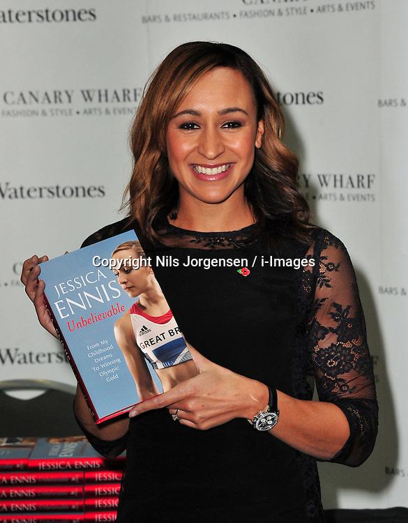 Jessica Ennis book signing at Waterstones, Canary Wharf, London, UK, November 9, 2012. Photo by Nils Jorgensen / i-Images.<br /> File photo - Jessica Ennis Pregnant<br /> <br /> Team GB gold medallist Jessica Ennis announces this morning Friday 10th January 2014 via her Facebook fan page that she is pregnant. Photo filed Friday, 10th January 2014