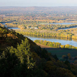 """The Oxbow"" and the Connecticut River as seen from the Skinner Mountain House in Hadley, Massachusetts.  Skinner State Park.  Mount Holyoke. New England Trail"