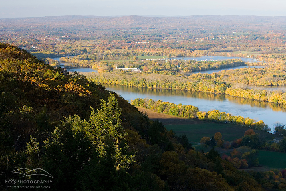 """""""The Oxbow"""" and the Connecticut River as seen from the Skinner Mountain House in Hadley, Massachusetts.  Skinner State Park.  Mount Holyoke. New England Trail"""