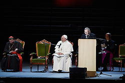 October 31, 2016 - Malm√, Sweden - Cardinal Kurt Koch, President of Lutheran World Federation, Pope Francis,  Bishop Munib A. Younan,  are seen on stage during the 'Together in Hope' event at Malmo Arena on October 31, 2016 in Malmo, Sweden. The Pope is on 2 days visit attending Catholic-Lutheran Commemoration in Lund and Malmo.  (Credit Image: © Aftonbladet/IBL via ZUMA Wire)