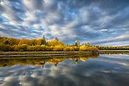Deschutes River in autumn near Dillon falls, Bend,Oregon,USA