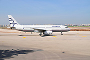 Israel, Ben-Gurion international Airport Aegean passenger jet ready for takeoff