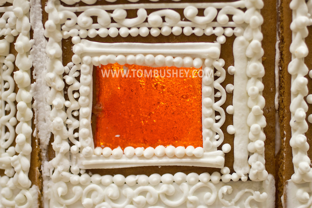 Middletown, New York - Detail of a window in a gingerbread house built at Something Sweet Dessert Cafe on  Nov. 23, 2014. ©Tom Bushey / The Image Works