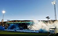 Fotball , 12. april 2019 , Eliteserien , Strømsgodset - Mjøndalen<br /> ilustrasjon ,  Godsetunionen , banner , publikum , fan , fans , ÆLV CLASSICO , skjerf , tifo