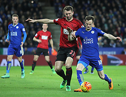 Gareth McAuley of West Bromwich Albion (L) and Andy King of Leicester City in action - Mandatory byline: Jack Phillips/JMP - 01/03/2016 - FOOTBALL - King Power Stadium - Leicester, England - Leicester City v West Bromwich Albion - Barclays Premier League