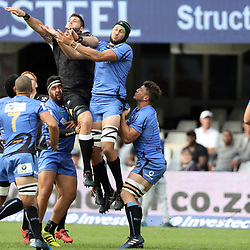 Ruan Botha of the Cell C Sharks and Adam Coleman of Western Force jump for the re start during the Super Rugby match between the Cell C Sharks and the Western Force at Growthpoint Kings Park on May 06, 2017 in Durban, South Africa. (Photo by Steve Haag)