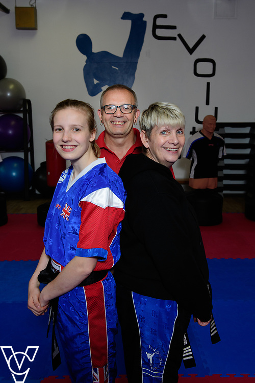 POOBI provides funding for Royal Mail colleagues and their families through the Rising Stars scheme for sports.  17-year-old Nesta Baxter is a Team GB kick boxer, and the daughter of postman Nigel.  He has received a POOBI bursary to help Nesta.  Pictured is, from left, Nesta, Nigel and Linda Baxter.<br /> <br /> Picture: Chris Vaughan Photography<br /> Date: June 28, 2017