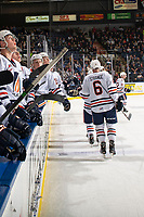 KELOWNA, BC - OCTOBER 12: Sean Strange #6 of the Kamloops Blazers fist bumps the bench to celebrate a second period goal against the Kelowna Rockets at Prospera Place on October 12, 2019 in Kelowna, Canada. (Photo by Marissa Baecker/Shoot the Breeze)