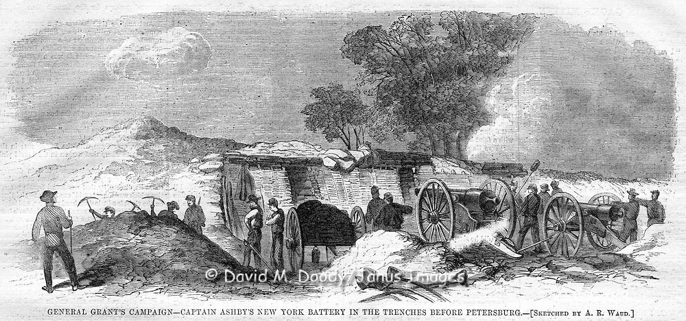 Civil War action before Petersburg, Virginia. Harper's Weekly, August 20, 1864.