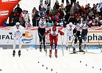Langrenn<br /> Lahti Finland<br /> 13.03.2011<br /> Foto: Gepa/Digitalsport<br /> NORWAY ONLY<br /> <br /> FIS Weltcup, 1,4km Sprint der Herren, klassisch. <br /> <br /> Bild zeigt Jesper Modin (SWE), Jesse Vaeaenaenen (FIN), John Kristian Dahl (NOR), Daniel Rickardsson (SWE) und Andrew Newell (USA).