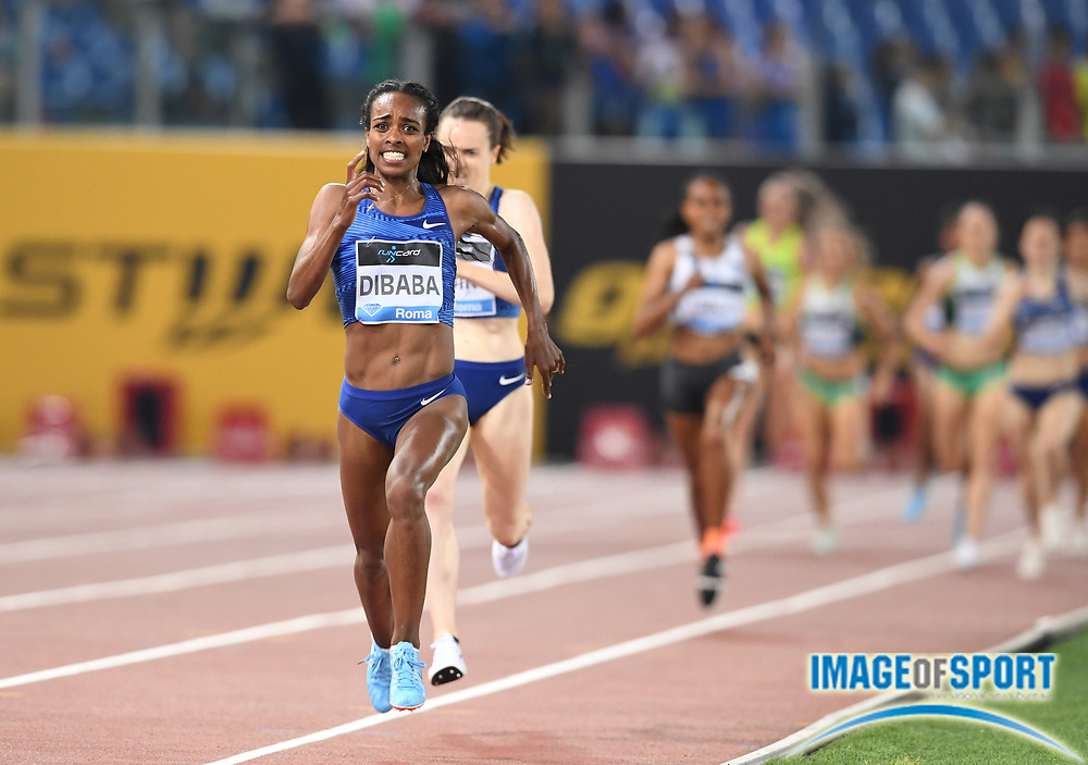 Genzebe Dibaba (ETH) wins the women's 1,500m in 3:56.28 during the 39th Golden Gala Pietro Menena in an IAAF Diamond League meet at Stadio Olimpico in Rome on Thursday, June 6, 2019. (Jiro Mochizuki/Image of Sport)
