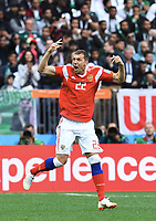 3:0 Tor Jubel Torschuetze Artem Dzyuba (Russland)<br /> Moskau, 14.06.2018, FIFA Fussball WM 2018 in Russland, Eroeffnungsspiel, Vorrunde, Russland - Saudi-Arabien<br /> Russland - Saudi-Arabia<br /> Norway only