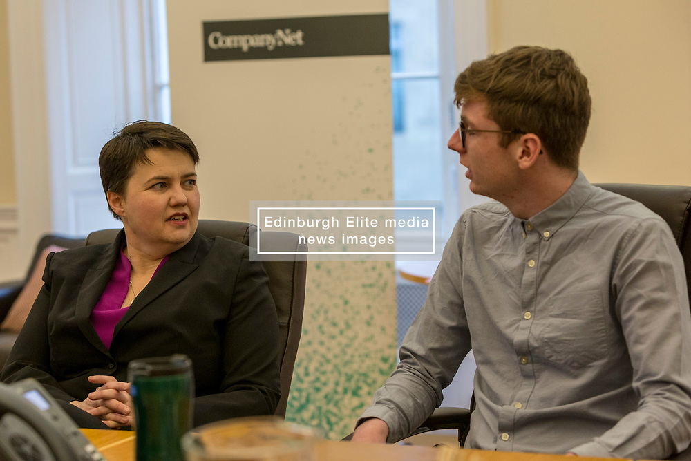 Scottish Conservatives leader, Ruth Davidson, visits the digital business, Company Net, in Edinburgh to mark national apprenticeship week.<br /> <br /> Pictured: L to R, Ruth Davidson, Sean Robertson