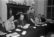 24/03/1963<br /> 03/24/1963<br /> 24 March 1963<br /> Scout leaders conference at the Shelbourne Hotel, Dublin. Mr S. Durkam, (Ballyhaunis, Co. Mayo) National Commissioner, presiding at the 2nd Annual National Conference of the Catholic Scouts Leaders and Chaplains. Also in the picture are (l-r): J. McGrath, Director of Organisation; C.J. Murphy, Chief Scout; J. Nolan, National Secretary and Rev. Enda Gorman, International Commissioner.