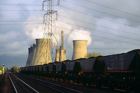 Train carrying coal arriving at Thorp Marsh Power Station ....