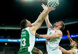 Ziga Fifolt of Krka vs Jan Rebec of Petrol Olimpija during basketball match between KK Petrol Olimpija and KK Krka in Round #6 of Liga Nova KBM za prvaka 2018/19, on April 5, 2019, in Arena Stozice, Ljubljana, Slovenia. Photo by Vid Ponikvar / Sportida