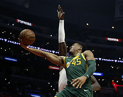 January 16, 2019 - Los Angeles, California, U.S - Utah Jazz's Donovan Mitchell (45) goes to basket during an NBA basketball game between Los Angeles Clippers and Utah Jazz Wednesday, Jan. 16, 2019, in Los Angeles. (Credit Image: © Ringo Chiu/ZUMA Wire)